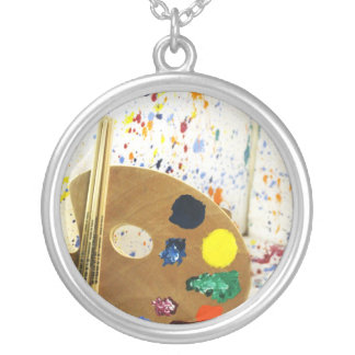 Artists Paint Splatter And Pallet of Paint Round Pendant Necklace