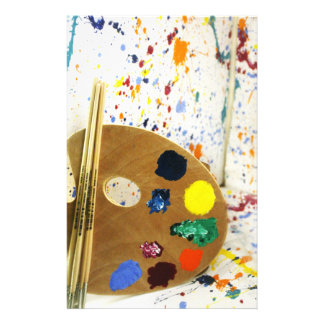 Artists Paint Splatter And Pallet of Paint Stationery Design