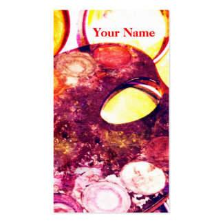 Artist's palette watercolor paint box - pack of standard business cards
