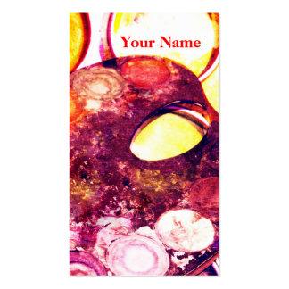 Artist's palette watercolor paint box - business cards