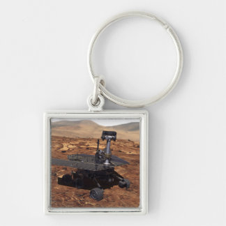 Artists rendition of Mars Rover 2 Silver-Colored Square Key Ring