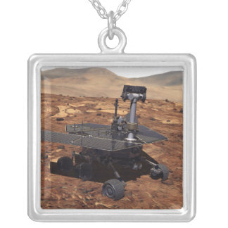 Artists rendition of Mars Rover 2 Square Pendant Necklace