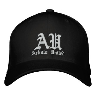Artists United White Text Embroidered Hats