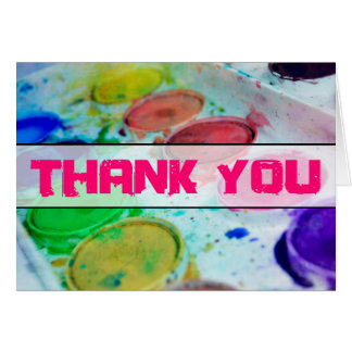 Artists Watercolor Paint Palette Thank You Greeting Card