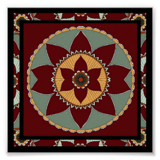 Arts and Crafts Flower Mandala-print Poster