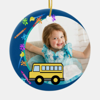 Arts and Crafts School Bus Blue Christmas Ornament