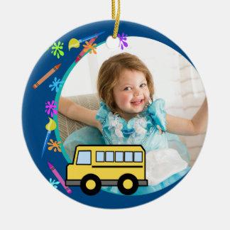 Arts and Crafts School Bus Blue Round Ceramic Decoration