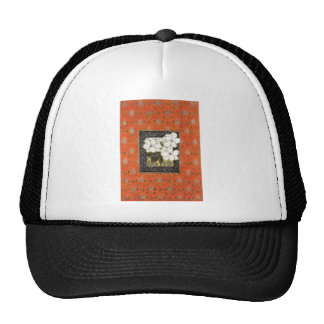 Arts and crafts style book cover with flowers trucker hat