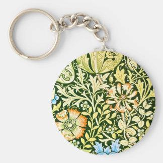 Arts Crafts Floral Design Basic Round Button Key Ring
