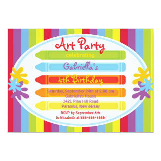 Arts & Crafts Kids Paint Birthday Party 13 Cm X 18 Cm Invitation Card