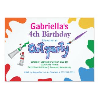 Arts & Crafts Kids Paint Birthday Party 13 Cm X 18 Cm Invitation Card