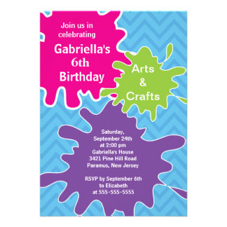 Arts & Crafts Kids Paint Birthday Party Announcement