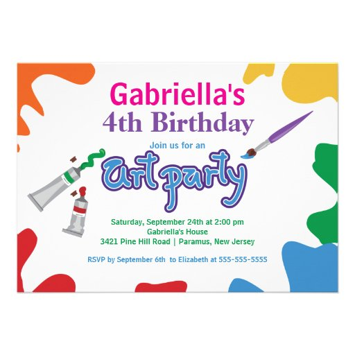 Arts & Crafts Kids Paint Birthday Party Personalized Invite