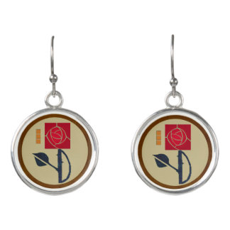 Arts & Crafts Rose in the Mission Style Earrings