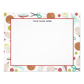 Arts & Crafts Themed Flat Notecards Personalised Invitation