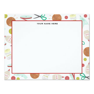 Arts & Crafts Themed Flat Notecards Invite