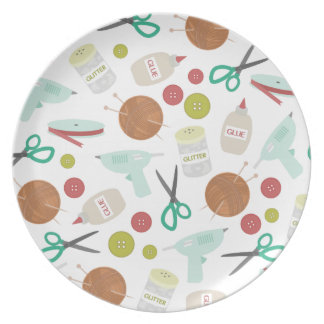 Arts Crafts Themed Melamine Plate