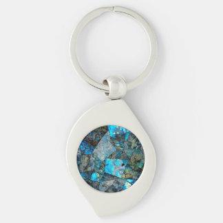 Artsy Abstract Labradorite Mosaic Keychain Silver-Colored Swirl Key Ring
