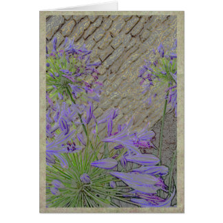 Artsy agapanthus with brick wall card