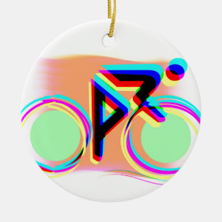Artsy Bicycling Round Ceramic Decoration