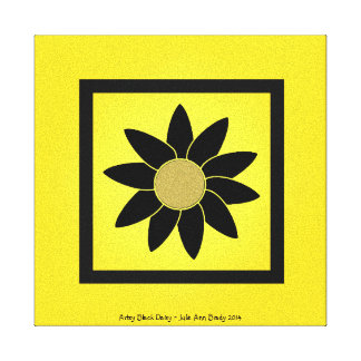 Artsy Black Daisy on Yellow Stretched Canvas Prints