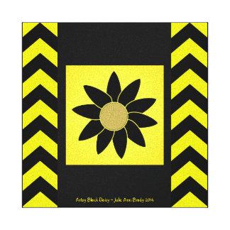 Artsy Black Daisy on Yellow Canvas Prints