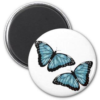 Artsy Blue Butterflies 6 Cm Round Magnet