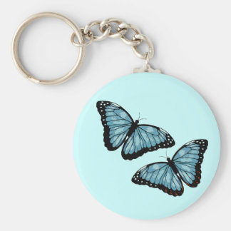 Artsy Blue Butterflies Key Ring