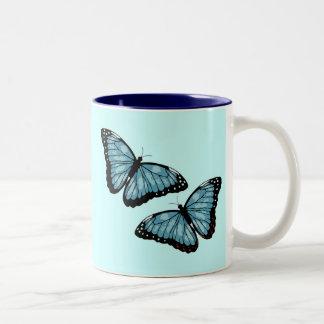 Artsy Blue Butterflies Two-Tone Mug