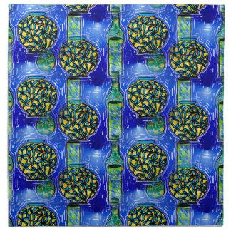 Artsy Blue Vases Design on Cloth Napkins