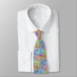 Artsy Bright Colorful Retro Wave Swirls Pattern Tie