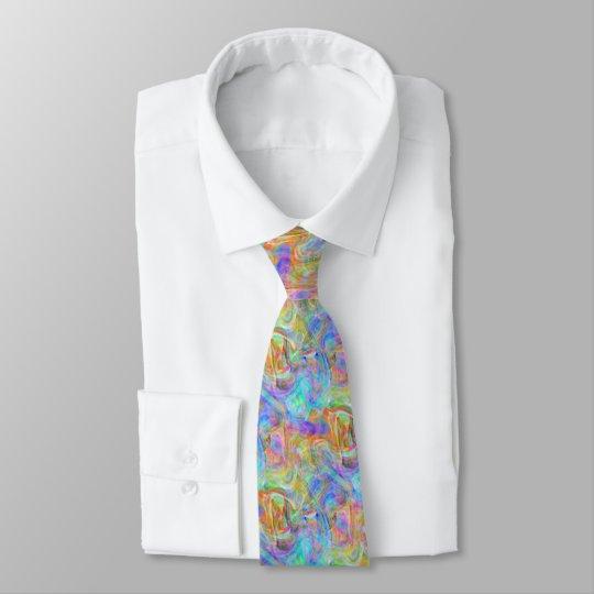Artsy Bright Colourful Retro Wave Swirls Pattern Tie