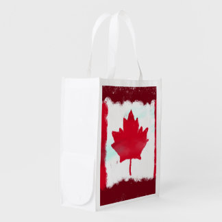 Artsy Canadian Flag Reusable Grocery Bag