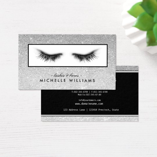 Artsy Chic Silver Glitter Eyelashes Designer Business Card