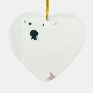 Artsy Cutout Polar Bear in Snow Ceramic Heart Decoration