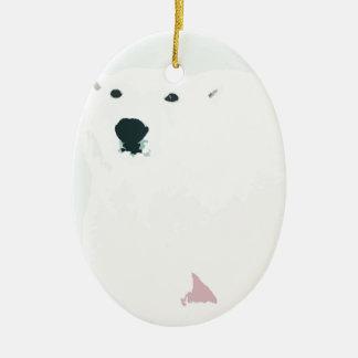 Artsy Cutout Polar Bear in Snow Christmas Ornament