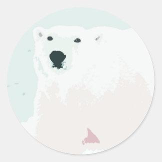 Artsy Cutout Polar Bear in Snow Round Sticker