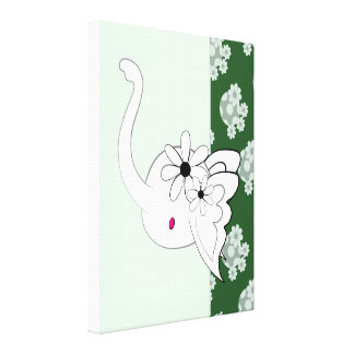 Artsy Elephant Head Green Canvas Print