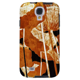 Artsy Floral Design Gold Poppies on Black Galaxy S4 Case