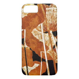 Artsy Floral Design Gold Poppies on Black iPhone 8/7 Case