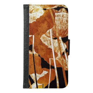 Artsy Floral Design Gold Poppies on Black Samsung Galaxy S6 Wallet Case