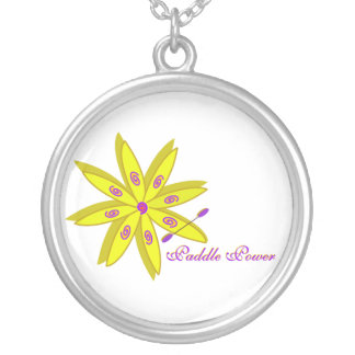 artsy flower kayak round pendant necklace