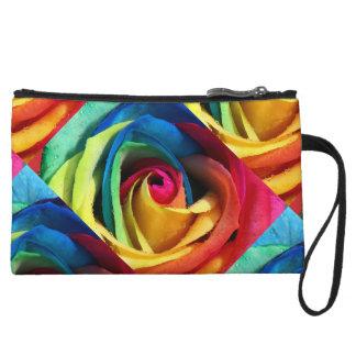 Artsy Geometric Rainbow Rose Wristlet Purses