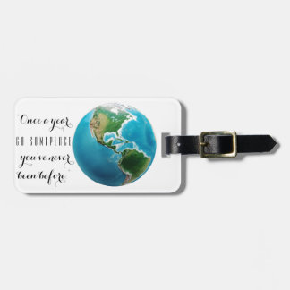 artsy globe explore adventure quote luggage tag