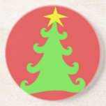 Artsy Green Christmas Tree on Red Drink Coaster