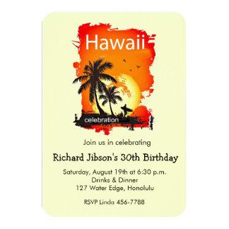 """Artsy Hawaii Beach Sunset Party Invitation 3.5"""" X 5"""" Invitation Card"""