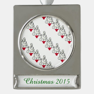Artsy Holiday Plants Silver Plated Banner Ornament