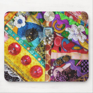 Artsy Mixed Media Patchwork Quilted Design Mouse Pad
