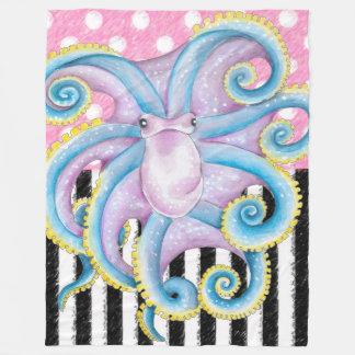 Artsy Octopus Pink Fleece Blanket
