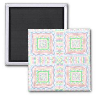 Artsy Pastel Tiles 2 Inch Square Magnet